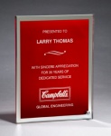 Glass Plaque with Red Center and Mirror Border Employee Awards